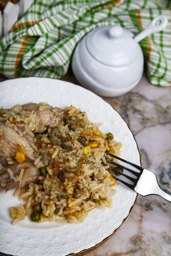 Arroz com galinha e vegetais imagem de stock