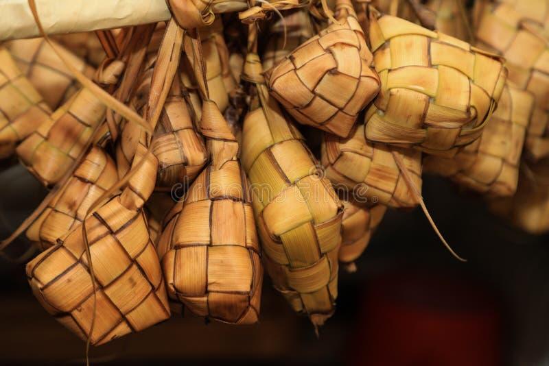 arroz da folha do coco fotografia de stock royalty free