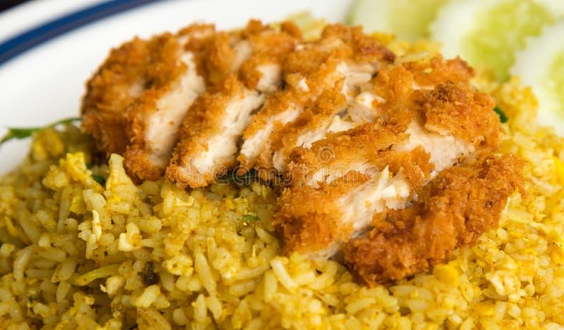 Arroz de Biryani com galinha friável imagens de stock