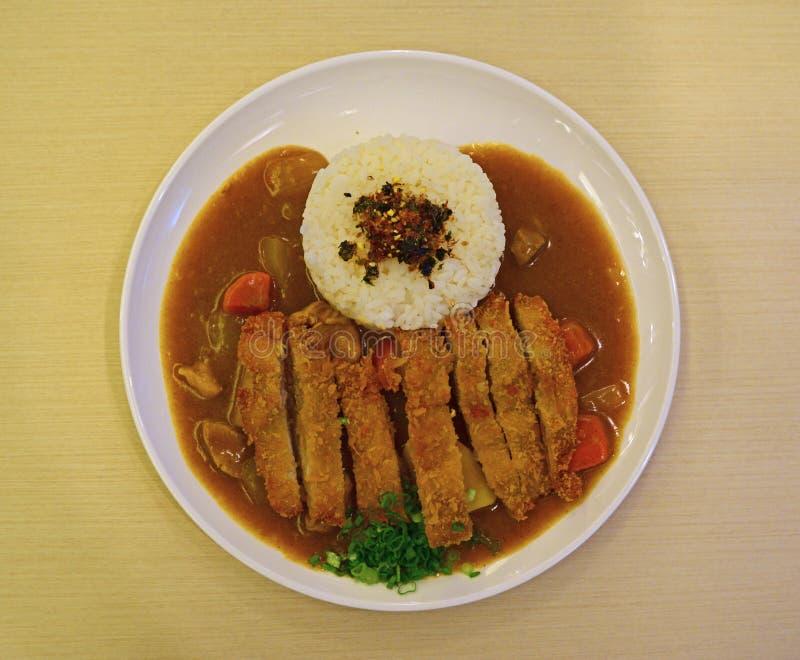 Arroz de caril japonês com galinha foto de stock