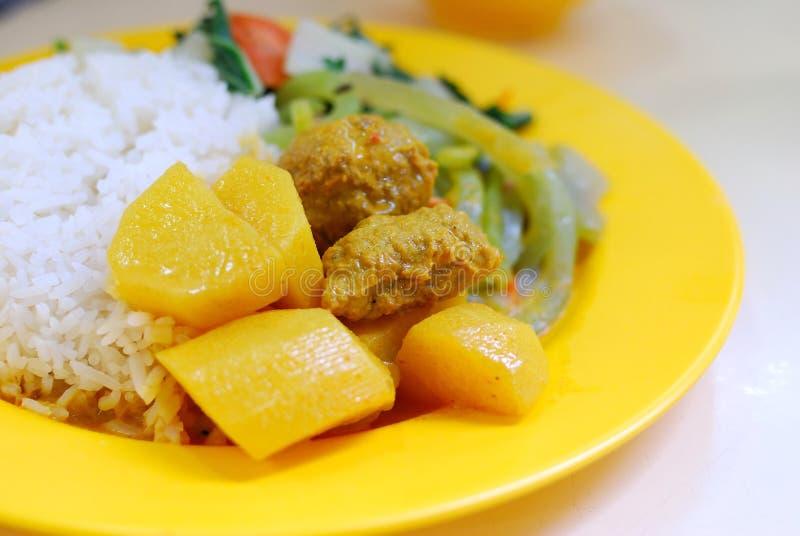 Arroz de curry indio vegetariano del cordero fotos de archivo
