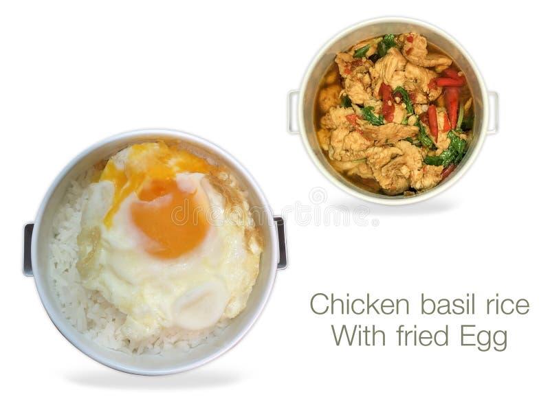 Arroz de la albahaca del pollo con el huevo frito en el fondo blanco stock de ilustración