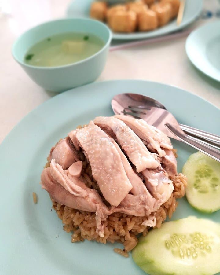 Arroz del pollo de Hainanese imagenes de archivo