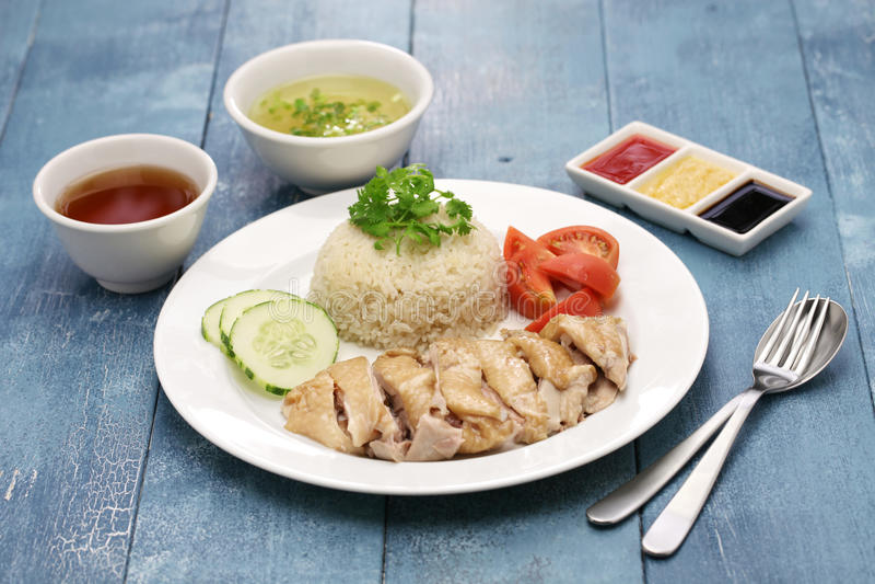 Arroz del pollo de Hainanese foto de archivo