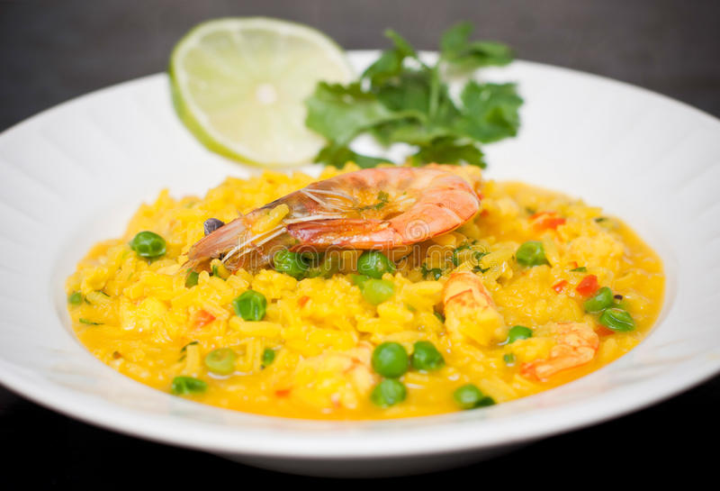 Arroz do alimento de mar fotografia de stock royalty free