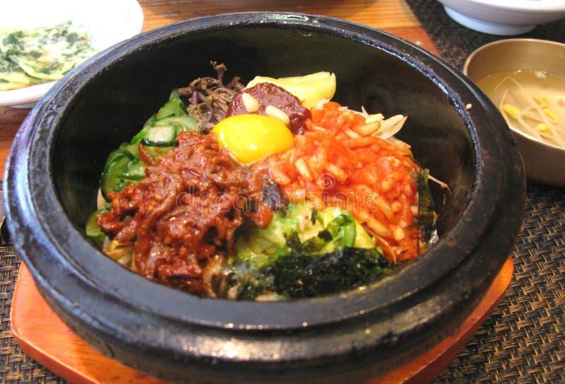 Arroz do Bibimbap na culinária coreana fotografia de stock