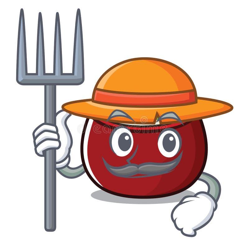 Arroz do coalho do fazendeiro servido na bacia da mascote ilustração do vetor