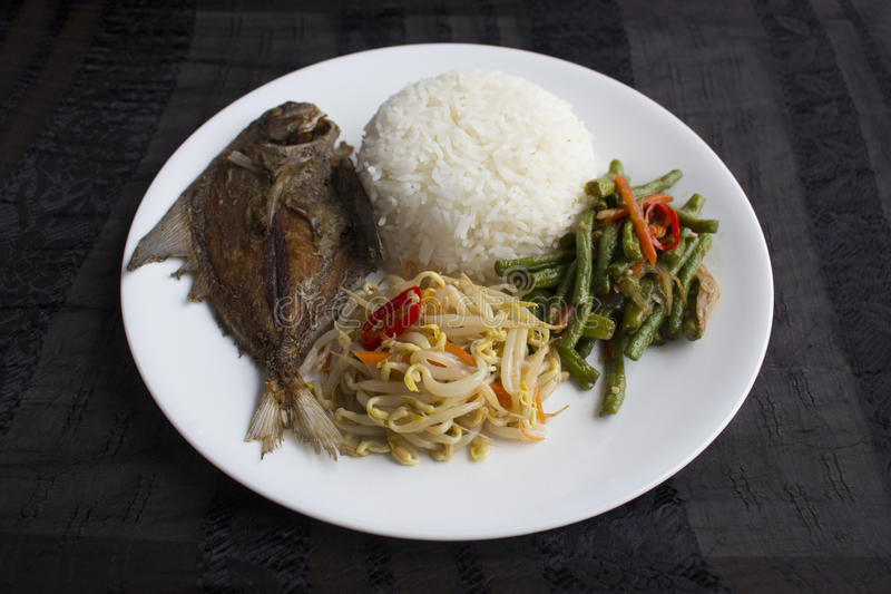 Arroz dos legumes misturados de Singapura/Malásia imagens de stock