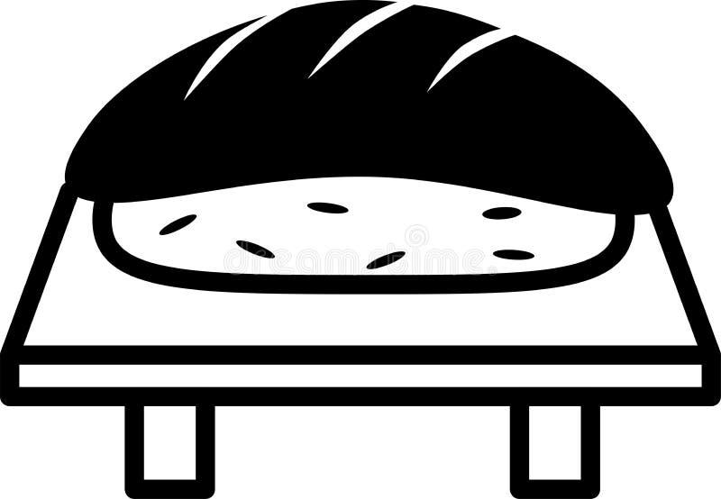 Arroz e peixes de sushi do ícone na placa do sushi ilustração royalty free