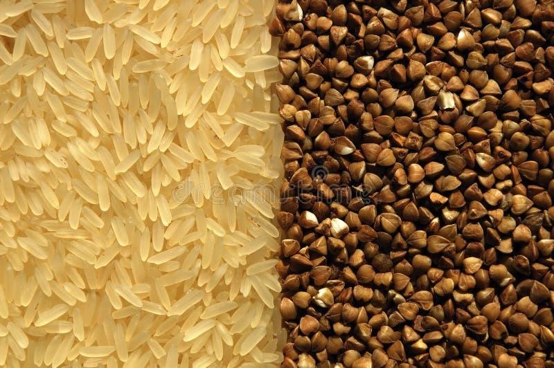 Arroz e trigo mourisco de contacto recíproco fotos de stock