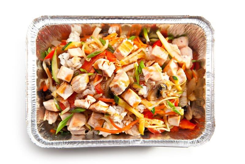 Arroz fritado com galinha imagem de stock