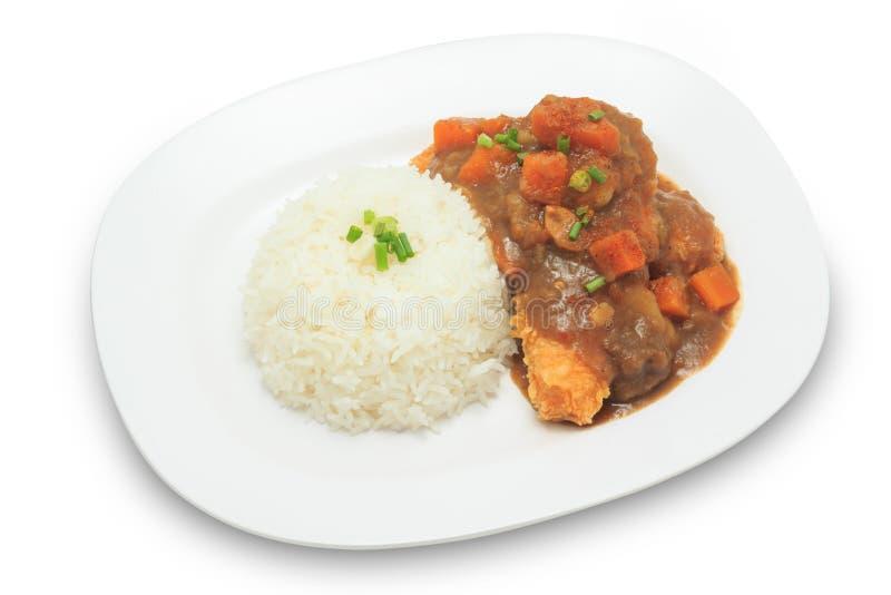 Arroz japonês da culinária com molho fritado da galinha e de caril com batatas e cenouras fotos de stock royalty free