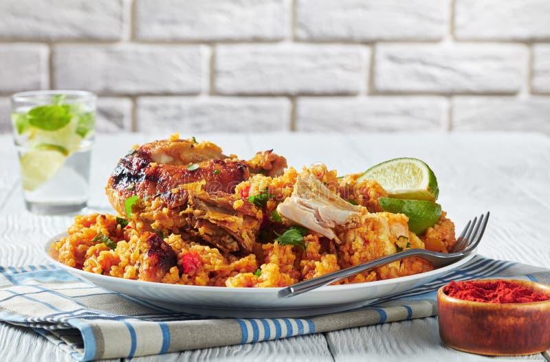 Arroz lurar pollo, höna med ris och veggies royaltyfria foton