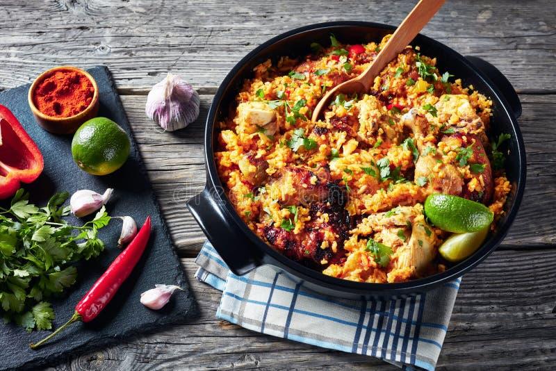 Arroz lurar pollo, höna med ris och veggies royaltyfria bilder