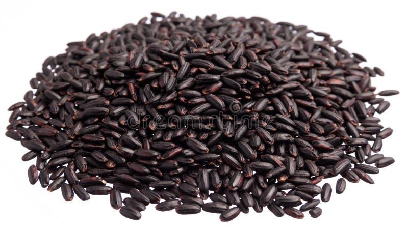 Arroz negro Pila de granos, fondo blanco aislado foto de archivo libre de regalías