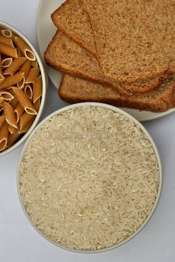 Arroz, pão e massa foto de stock royalty free