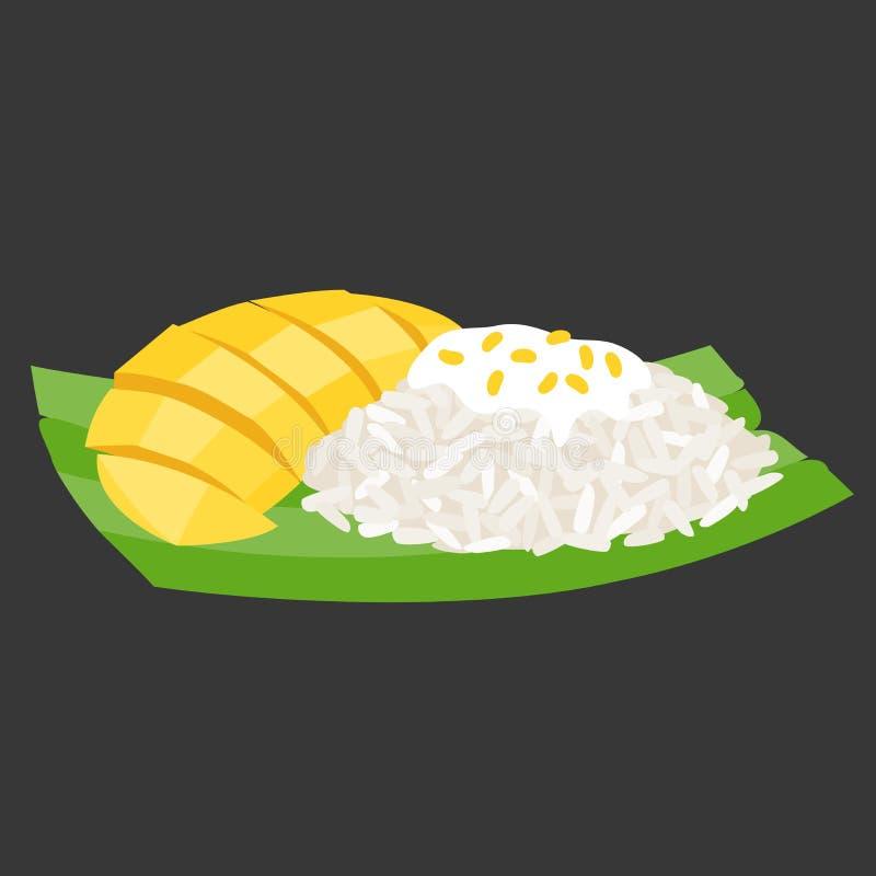 Arroz pegajoso con el mango en la hoja del plátano, postre tailandés, diseño plano libre illustration
