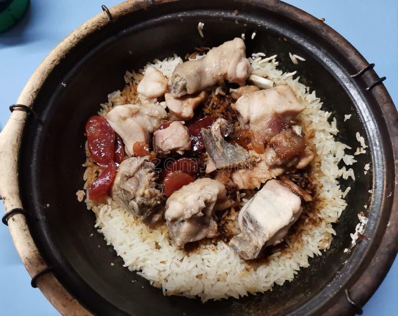 Arroz puro del pollo del claypot de Singapur fotografía de archivo