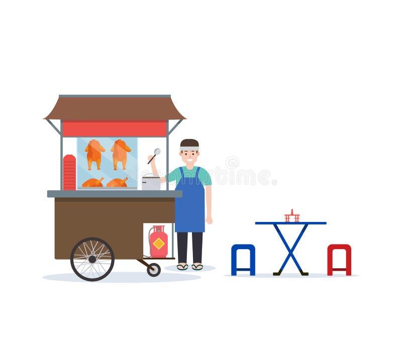 Arroz tailandés con el carro del pollo asado Comida tailandesa de la calle con diseño del vendedor y de la tabla en estilo plano ilustración del vector