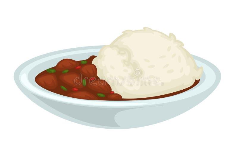 Arroz y carne guisada con salsa en plato aislado cuenco ilustración del vector