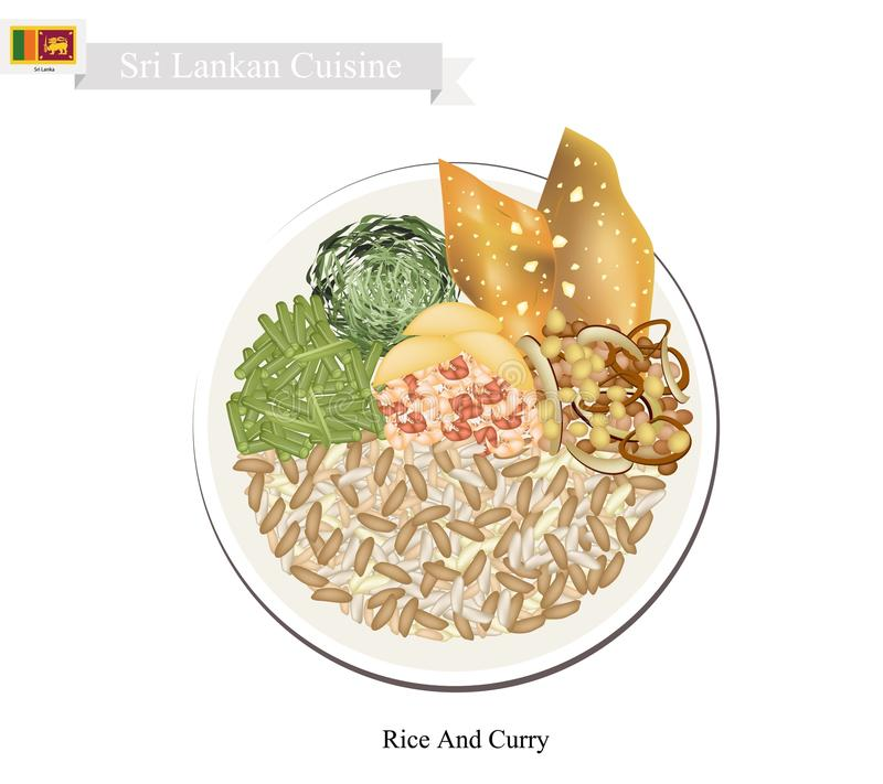 Arroz y curry, un plato popular en Sri Lanka stock de ilustración