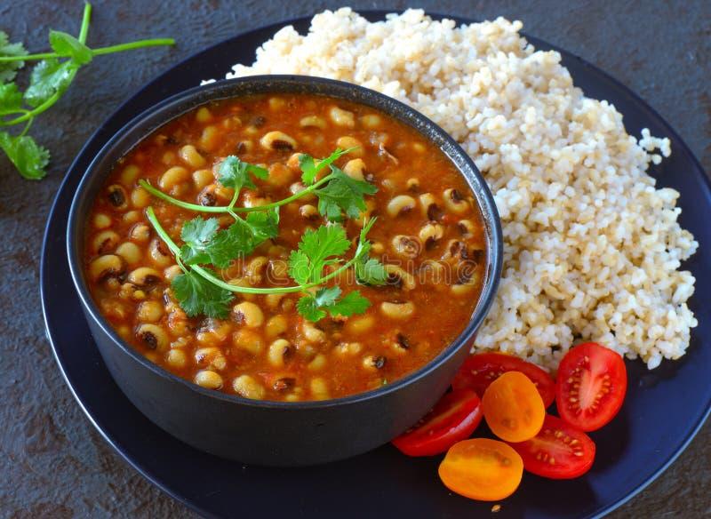 Arroz y habas de la comida de Glutenfree del indio imagenes de archivo