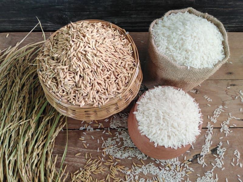 Arroz y arroz tailandeses del jazmín en la tabla de madera imágenes de archivo libres de regalías