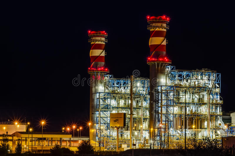 Arrubal, Spain - June 21, 2014: ContourGlobal's power plant at night royalty free stock images