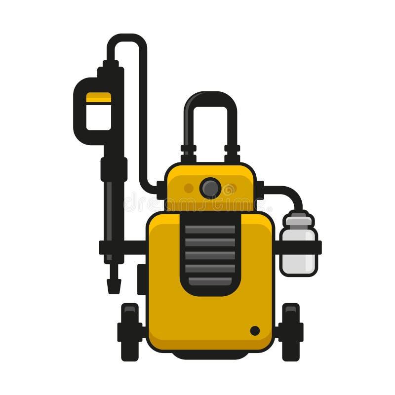 Arruela de alta pressão Máquina da lavagem de carros Vetor ilustração royalty free