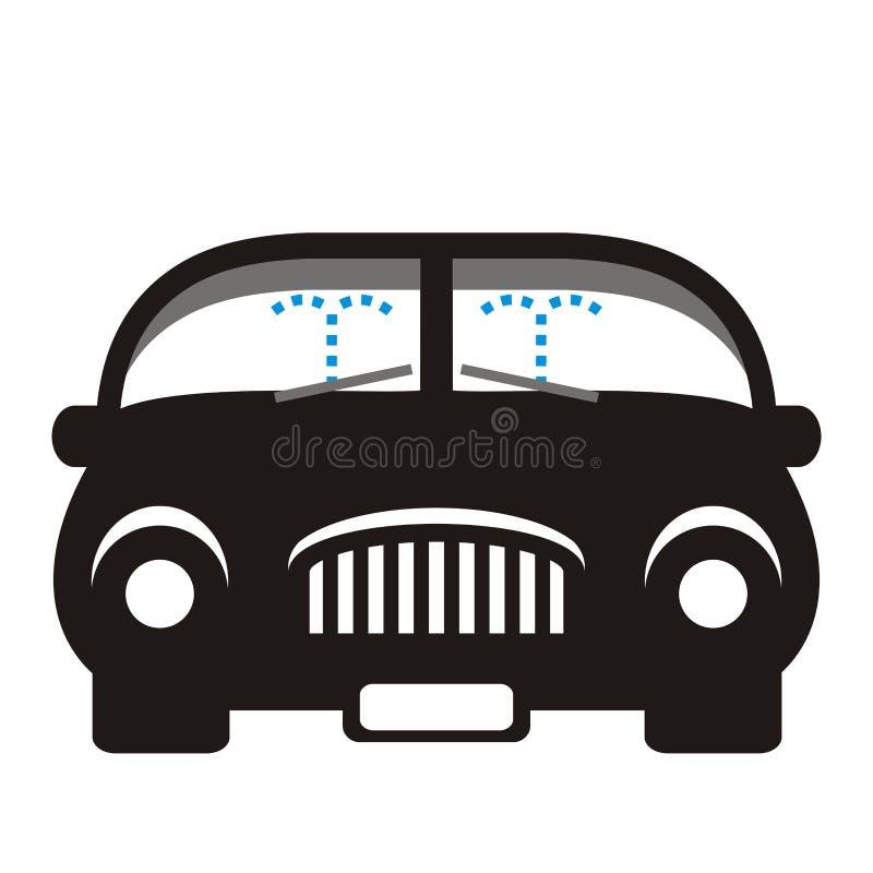 Arruela do carro e do pára-brisas, silhueta preta, ícone do vetor ilustração stock