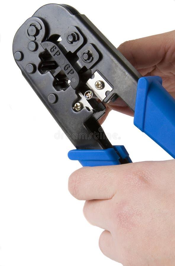 Arrugador 1 del cable de la red imagen de archivo