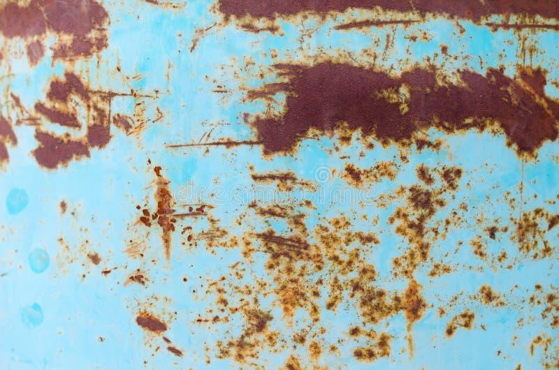 Arrugginisce il fondo metallico blu fotografia stock libera da diritti