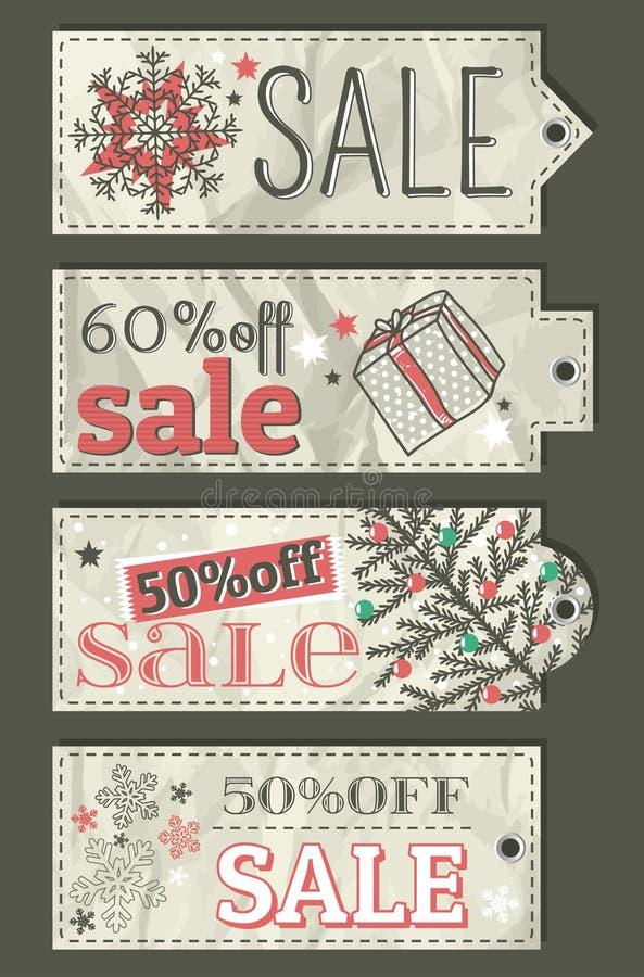 Arrugue las etiquetas de la Navidad con la oferta de la venta, vector libre illustration