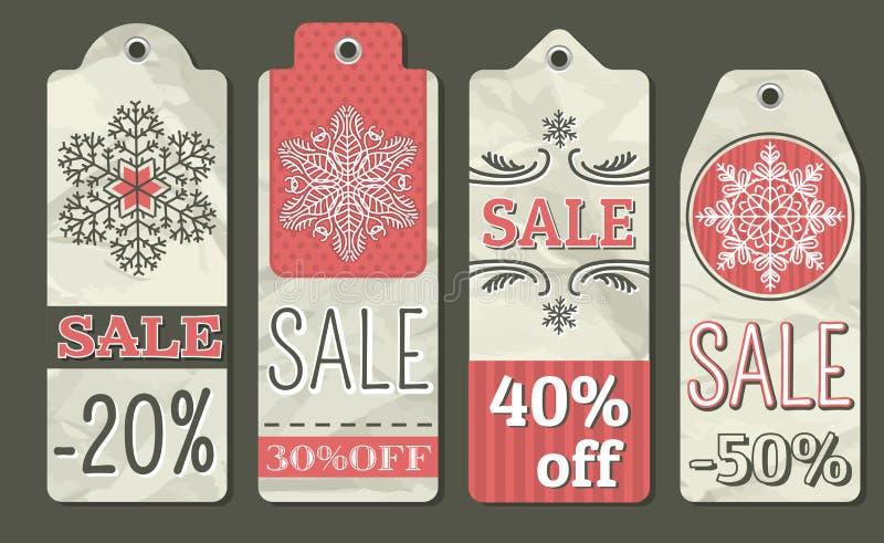 Arrugue las etiquetas de la Navidad con la oferta de la venta, vector stock de ilustración