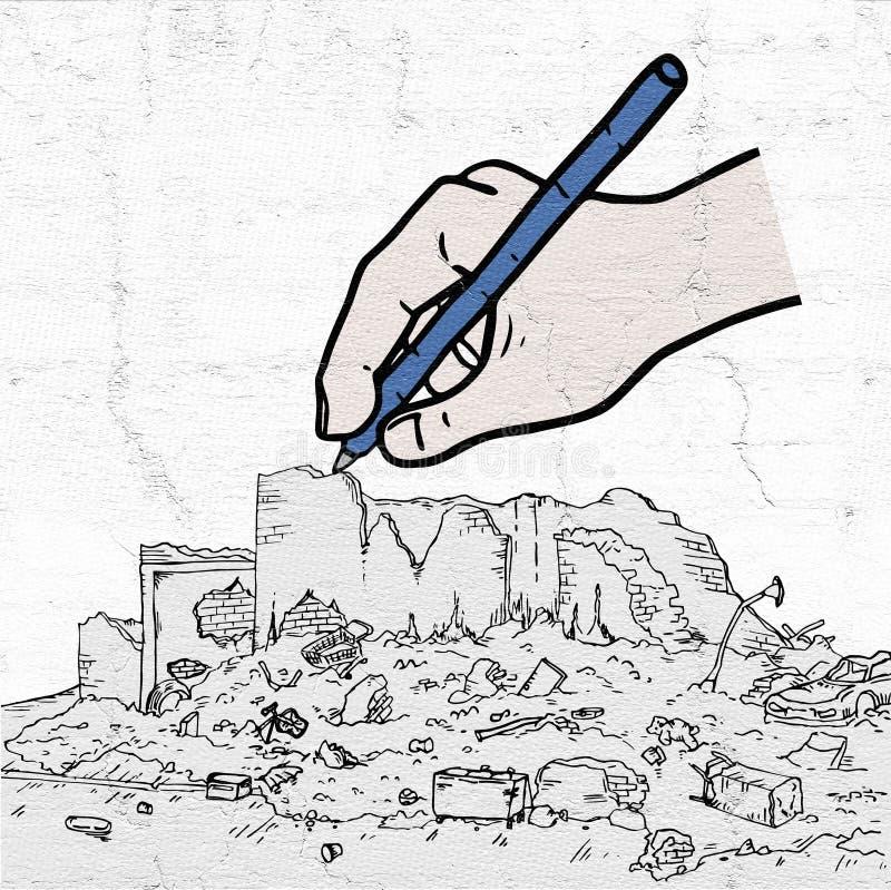 Arruina el dibujo de la mano de la calle ilustración del vector