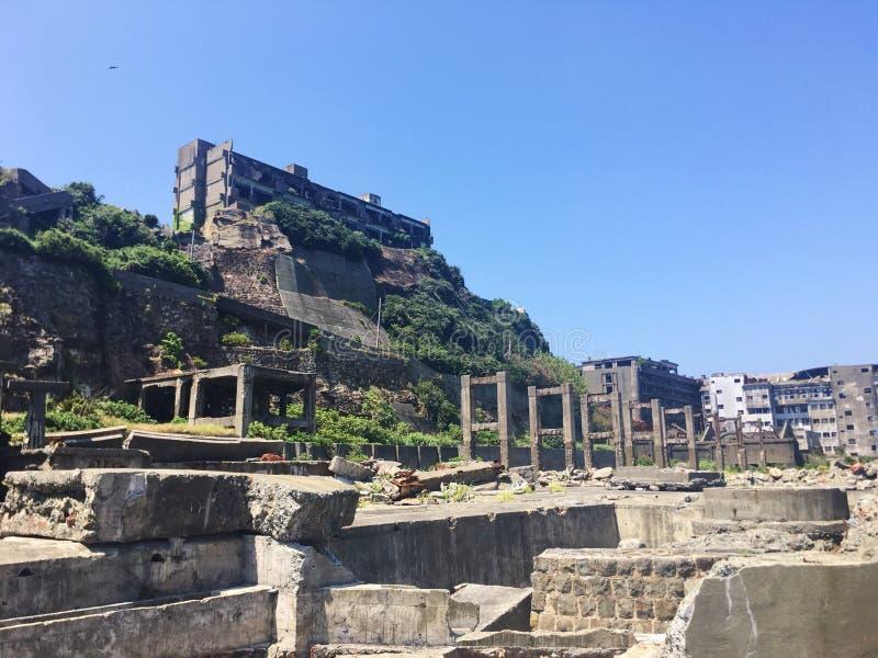 Arruina la isla del gunkanjima en la ciudad de Nagasaki foto de archivo libre de regalías