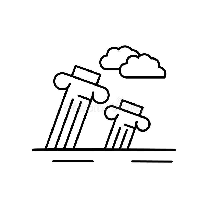 Arruina la línea antigua icono del monumento Elemento del icono de los paisajes libre illustration