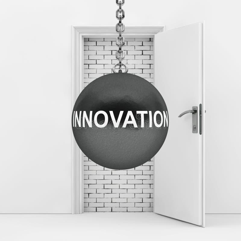 Arruinando la bola con la innovación firme listo para destruir la pared de ladrillo w ilustración del vector