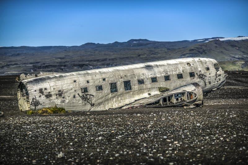 Arruine el avión estrellado de la costa de Islandia, atracción turística foto de archivo libre de regalías