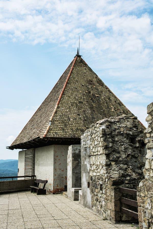Arruine el castillo de Visegrado, Hungría, foto del detalle fotografía de archivo