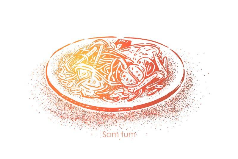Arrulhar exótico, salada picante tailandesa tradicional com papaia verde, tam do som, refeição gourmet, prato vegetal ilustração royalty free
