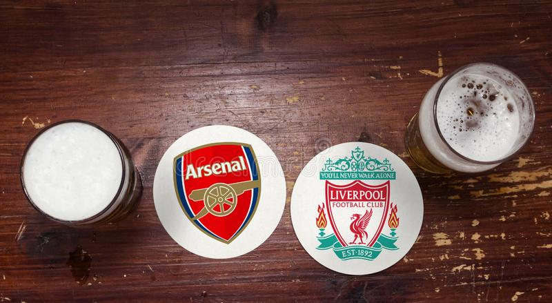 Arsenal contre liverpool images stock