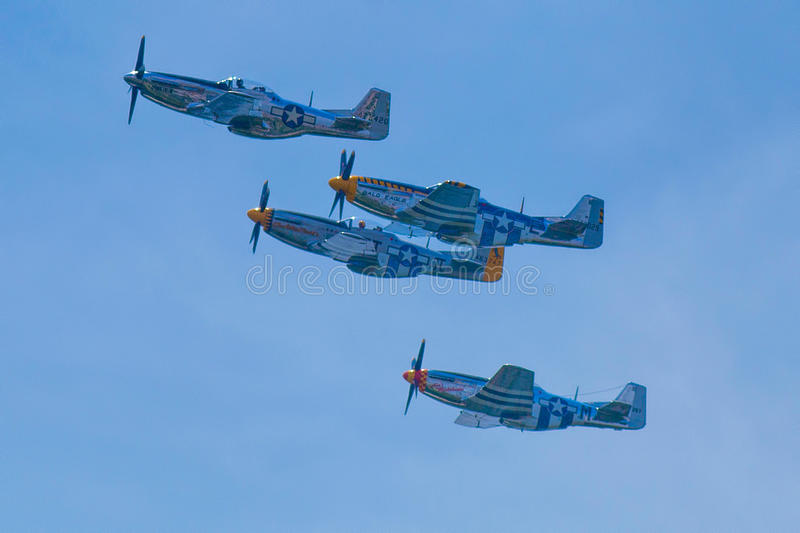 Arsenal de la democracia--Aviones de combate del mustango P-51 fotografía de archivo libre de regalías