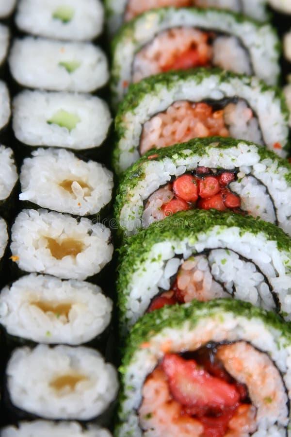 Arsenal de rodillos de sushi foto de archivo libre de regalías