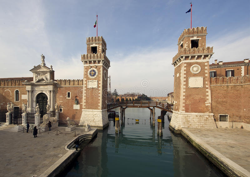 Arsenal de Venitian de la entrada del Magna y del canal de Porta foto de archivo
