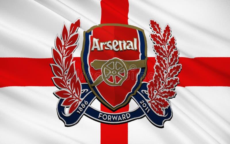 Arsenal do clube do futebol de bandeira, Inglaterra ilustração do vetor