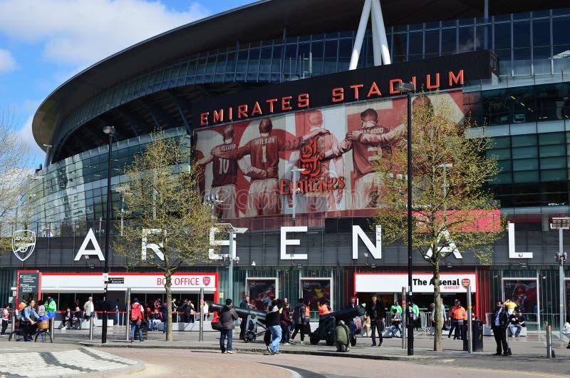 Arsenal Emirates Stadium. London, Holloway N5: main entrance and box office of the Arsenal Emirates Stadium royalty free stock photography