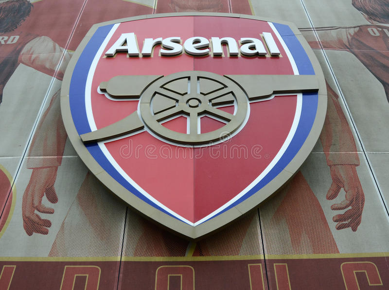 Arsenal FC Crest. Detail of Emirates Stadium pictured prior to the UEFA Champions League Group A game between Arsenal FC and Paris Saint Germain on November 23 royalty free stock photography
