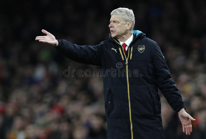 Arsenal FC v FC Barcelona - UEFA Champions League Round of 16: First Leg. LONDON, ENGLAND - FEBRUARY 23:Arsene Wenger manager of Arsenal during the Champions royalty free stock image