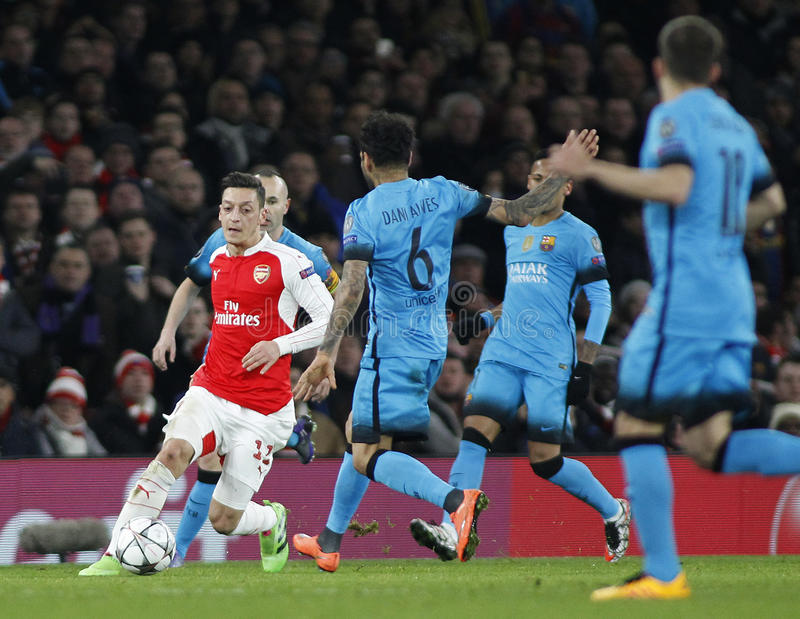Arsenal FC v FC Barcelona - UEFA Champions League Round of 16: First Leg. LONDON, ENGLAND - FEBRUARY 23: Mesut Ozil of Arsenal during the Champions League match royalty free stock images